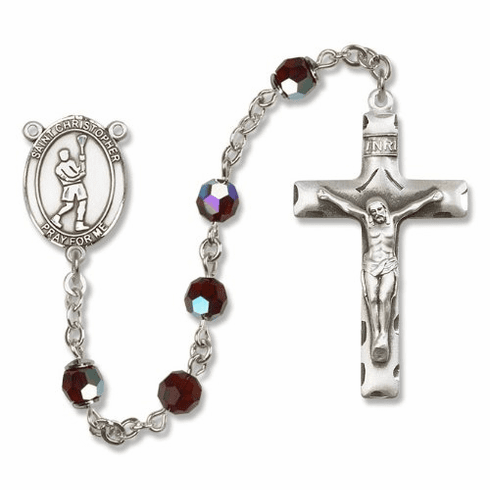 Bliss St Christopher Lacrosse Sterling, Gold-filled & 14kt Gold Rosary - More Colors