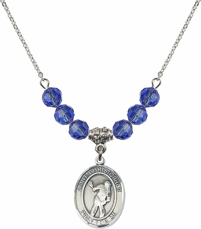 St Christopher Lacrosse Swarovski Necklace by Bliss Mfg � More Colors