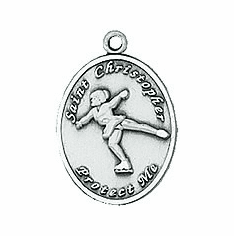 St. Christopher Ladies Figure Skating Necklace