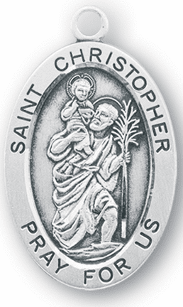 HMH Religious St Christopher Large Saint Sterling Silver Medal Necklace w/Chain