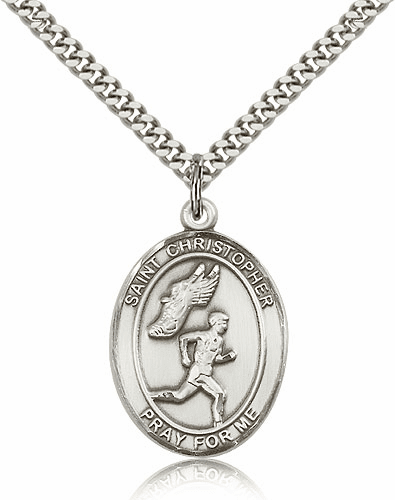 St Christopher Male Track & Field Sterling-Filled Patron Saint Medal by Bliss