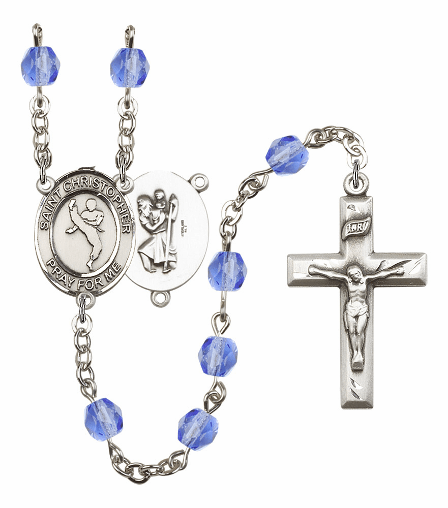 St Christopher Martial Arts Athlete Silver-Plated Birthstone Rosary