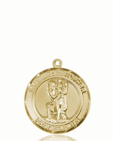 St Christopher Medium Patron Saint 14kt Gold Medal by Bliss