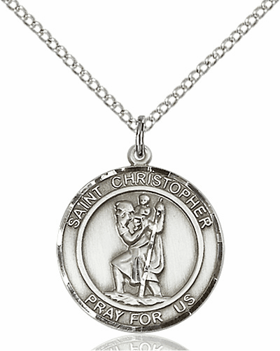 St Christopher Medium Patron Saint Sterling Silver Medal by Bliss