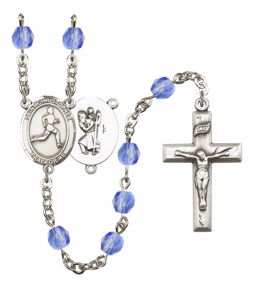 St Christopher Men Track and Field Athlete Silver-Plated Birthstone Rosary