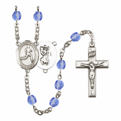 St Christopher Men Track/Field Athlete Birthstone Rosary - More Colors
