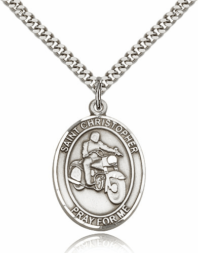 St Christopher Motorcycle Riding Pewter Patron Saint Necklace by Bliss