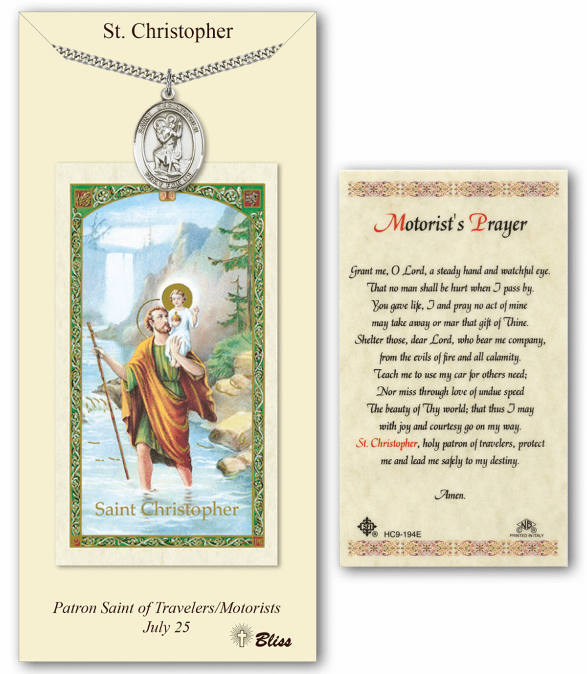 Bliss Mfg St Christopher Motorist Prayer Card & Pendant Gift Set