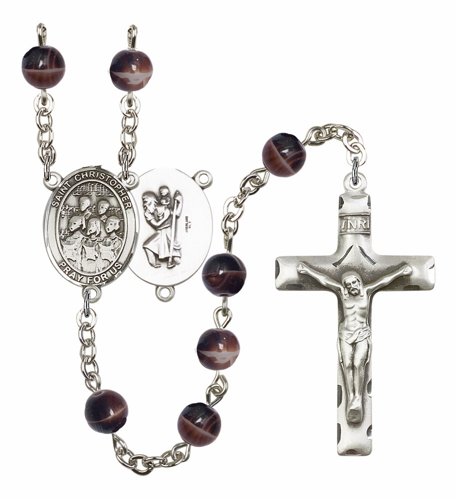 St Christopher Music Choir 7mm Brown Gemstone Rosary by Bliss
