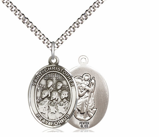 St Christopher Music Choir Pewter Saint Necklace by Bliss