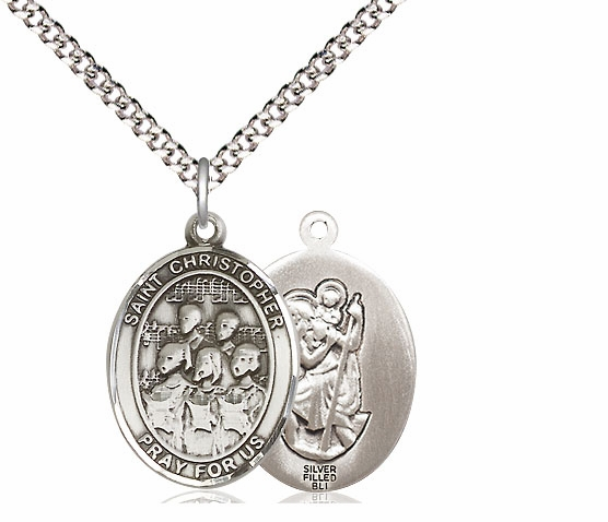 St Christopher Music Choir Silver-filled Medal Necklace by Bliss