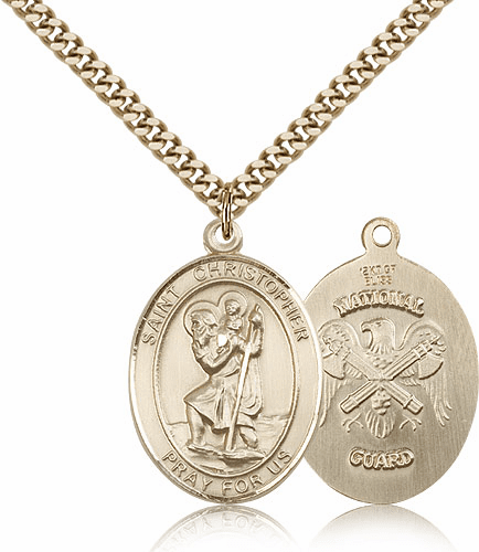 St Christopher National Guard Gold-Filled Oval Saint Pendant Medal by Bliss