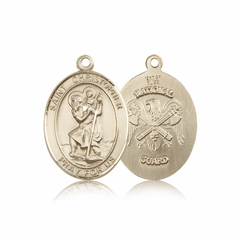 St Christopher National Guard Oval 14kt Gold Saint Pendant Medal by Bliss