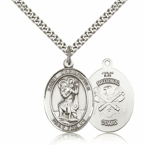 St Christopher National Guard Sterling Oval Saint Pendant Medal by Bliss