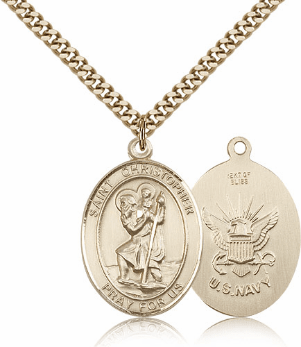St Christopher Navy Gold-Filled Oval Saint Pendant Medal by Bliss