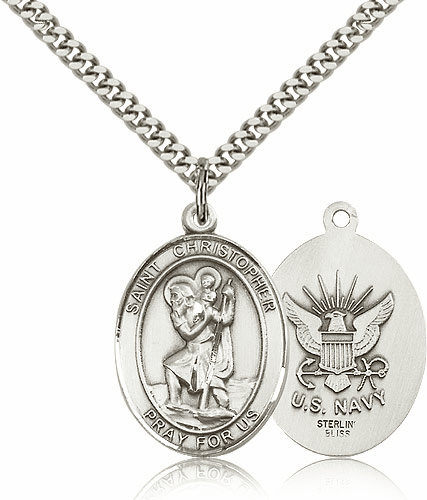 St Christopher Navy Sterling Oval Saint Pendant Medal by Bliss