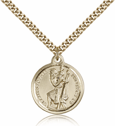 St Christopher Patron Saint 14kt Gold Filled Necklace By Bliss