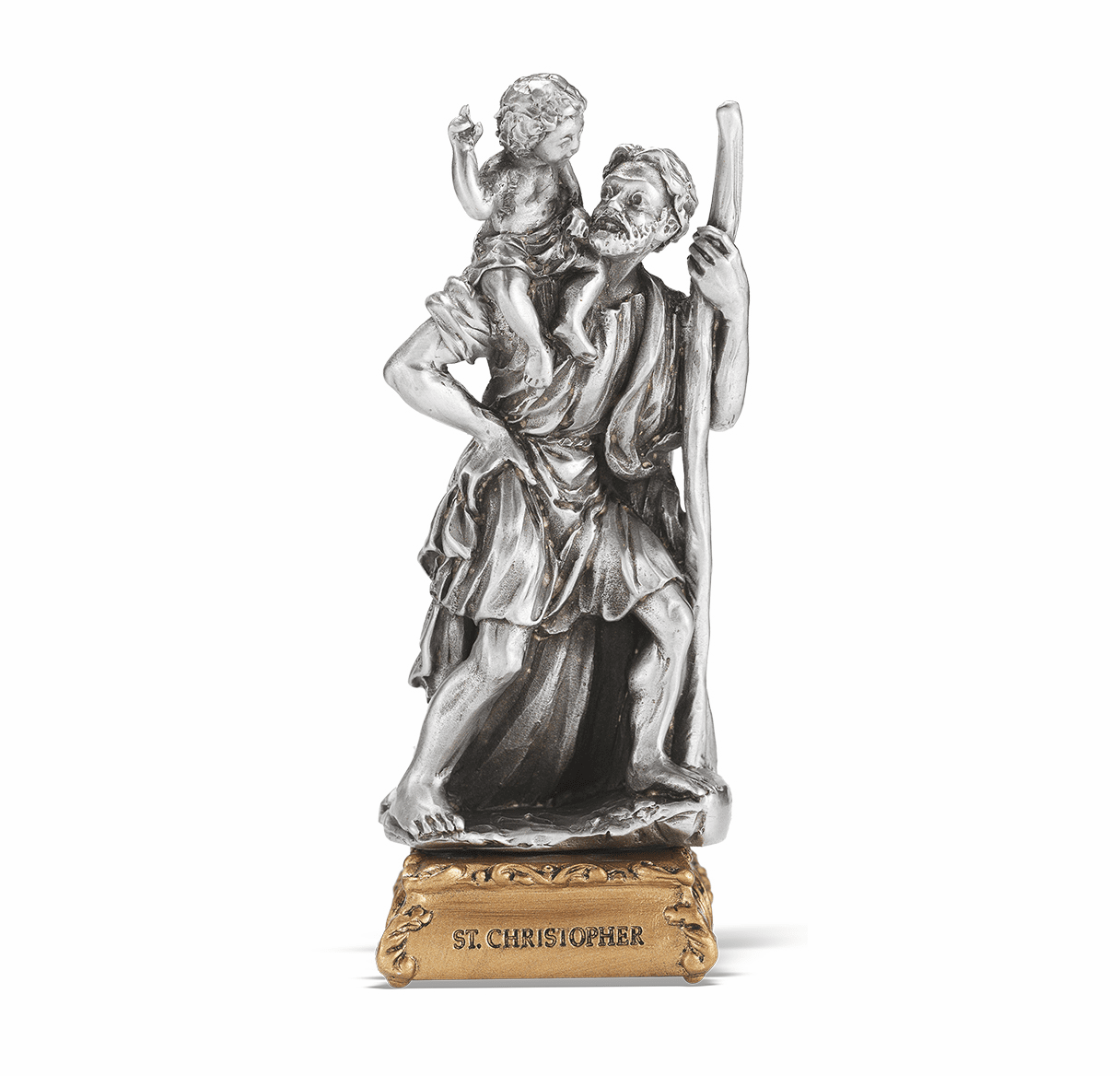 St Christopher Patron Saint Pewter Statue on Gold Tone Base by Hirten