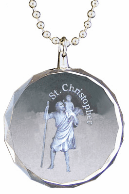 St Christopher Rear View Mirror Auto Ornament Glass by Jeweled Cross