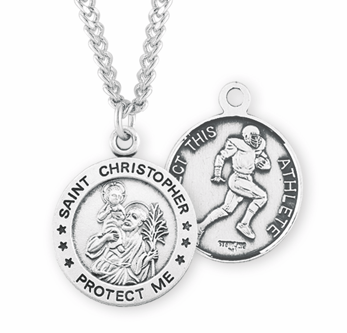 St Christopher Round Football Sports Saint Medal Necklace