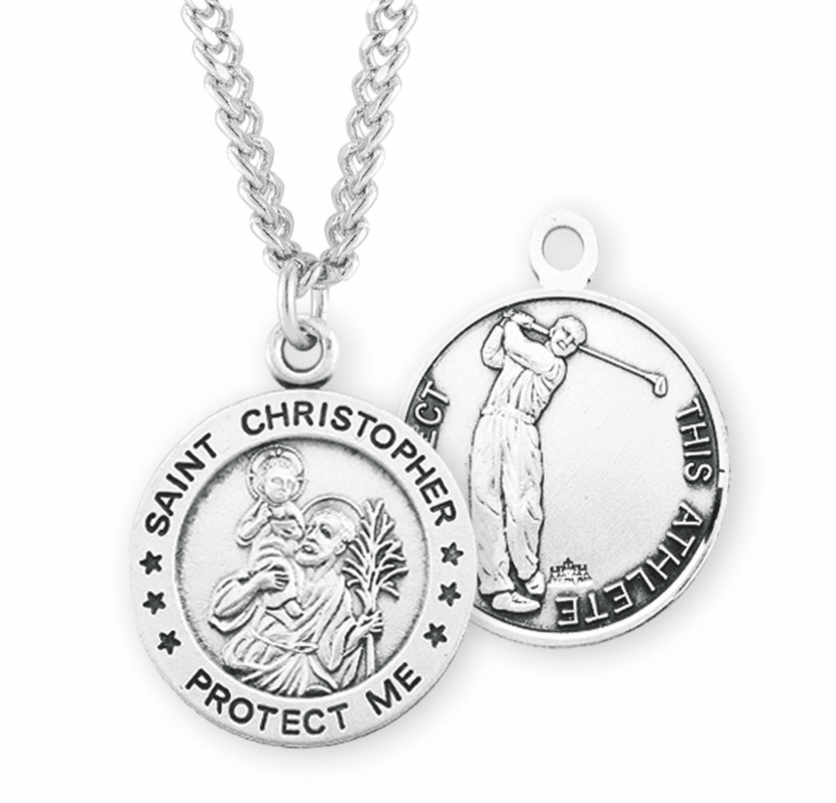HMH Religious St Christopher Round Golf Sports Saint Medal Necklace