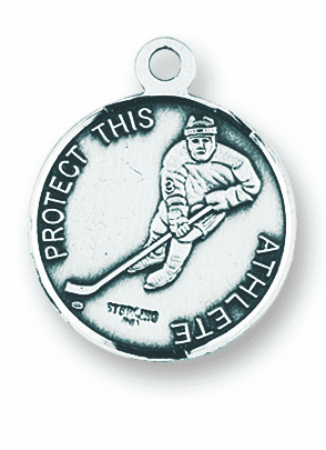 St Christopher Round Hockey Sports Saint Medal Necklace by HMH Religious