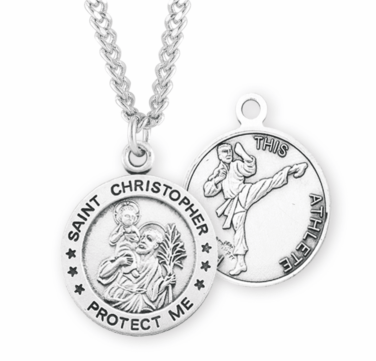 St Christopher Round Martial Arts Sports Saint Medal Necklace by HMH Religious