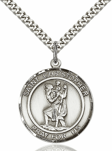 St Christopher Round Patron Saint Medal Necklace by Bliss