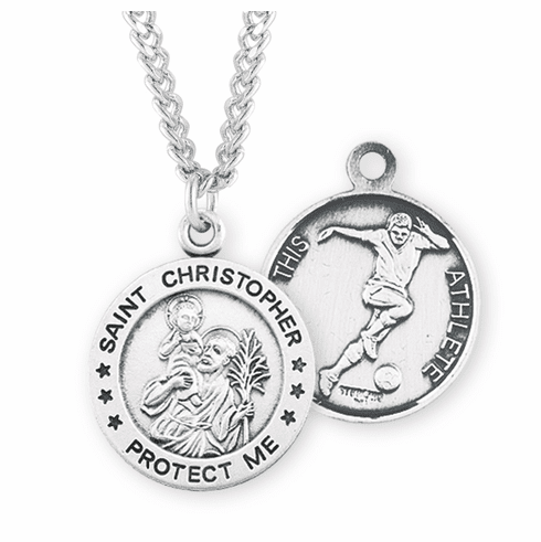 HMH Religious St Christopher Round Soccer Sports Saint Medal Necklace