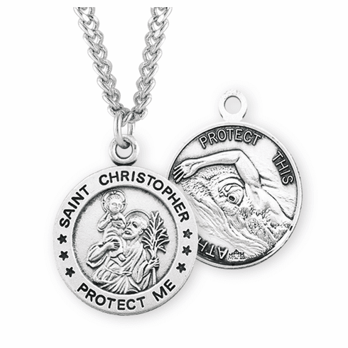 HMH Religious St Christopher Round Swimming Sports Saint Medal Necklace
