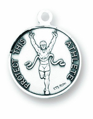 St Christopher Round Track Sports Saint Medal Necklace by HMH Religious