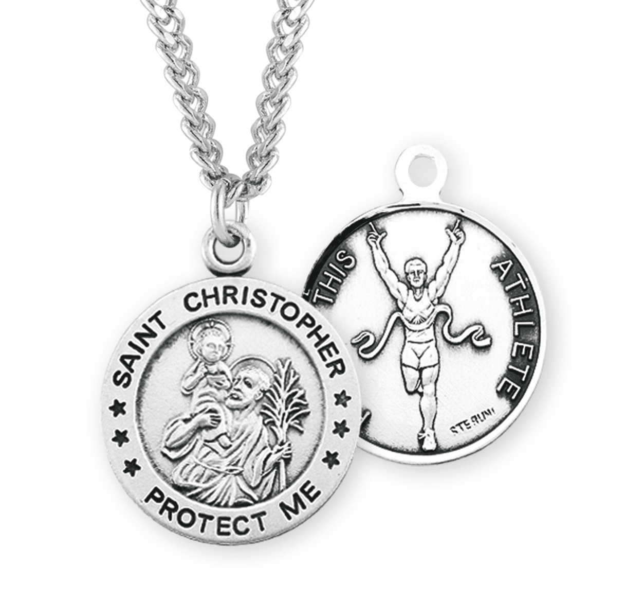 HMH Religious St Christopher Round Track Sports Saint Medal Necklace