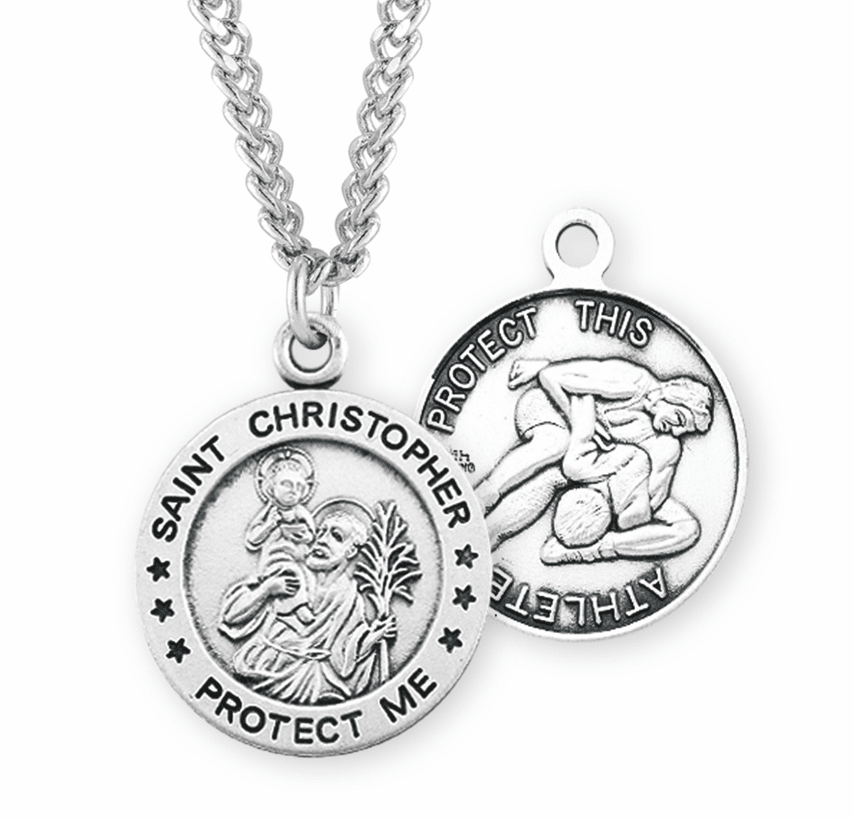 St Christopher Round Wrestling Sports Saint Medal Necklace by HMH Religious