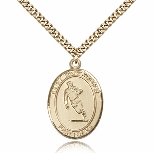 St Christopher Rugby 14kt Gold-Filled Saint Pendant by Bliss