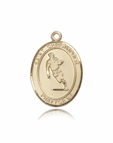 St Christopher Rugby 14kt Gold Patron Saint Pendant by Bliss