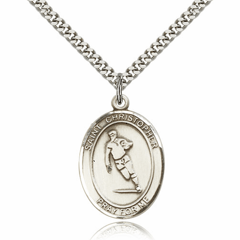St Christopher Rugby Sterling Silver Saint Necklace by Bliss