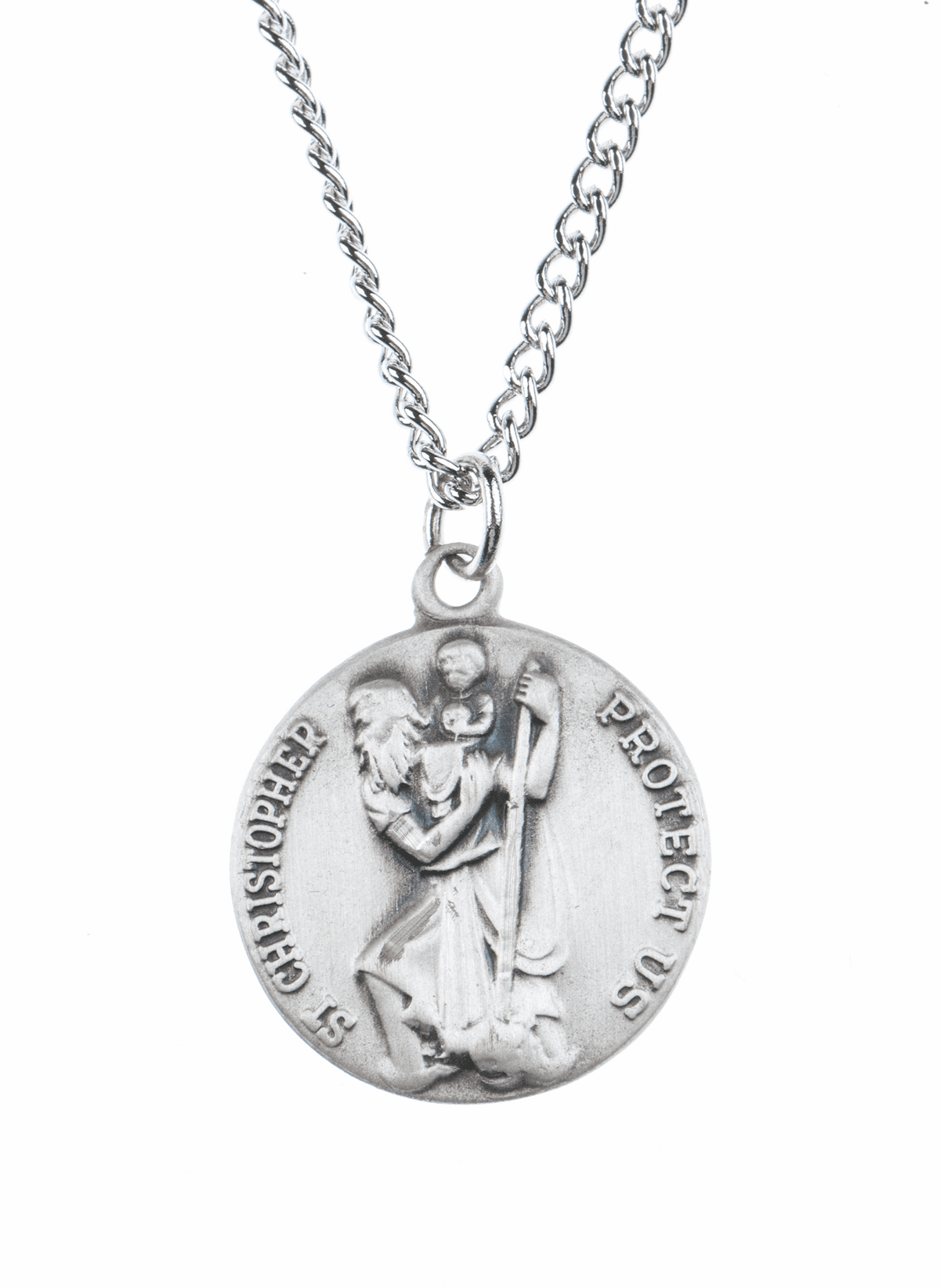 "St Christopher Saint Medal Pendant w/18"" Chain by Jeweled Cross"