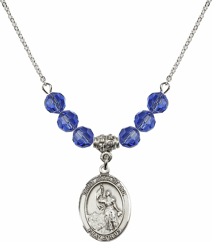St Joan of Arc Sapphire Swarovski Necklace by Bliss Mfg