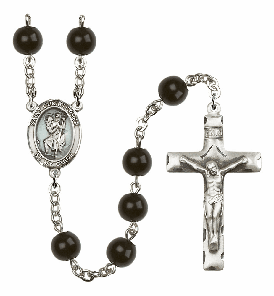 St Christopher Silver Plate 7mm Black Onyx  Prayer Rosary by Bliss