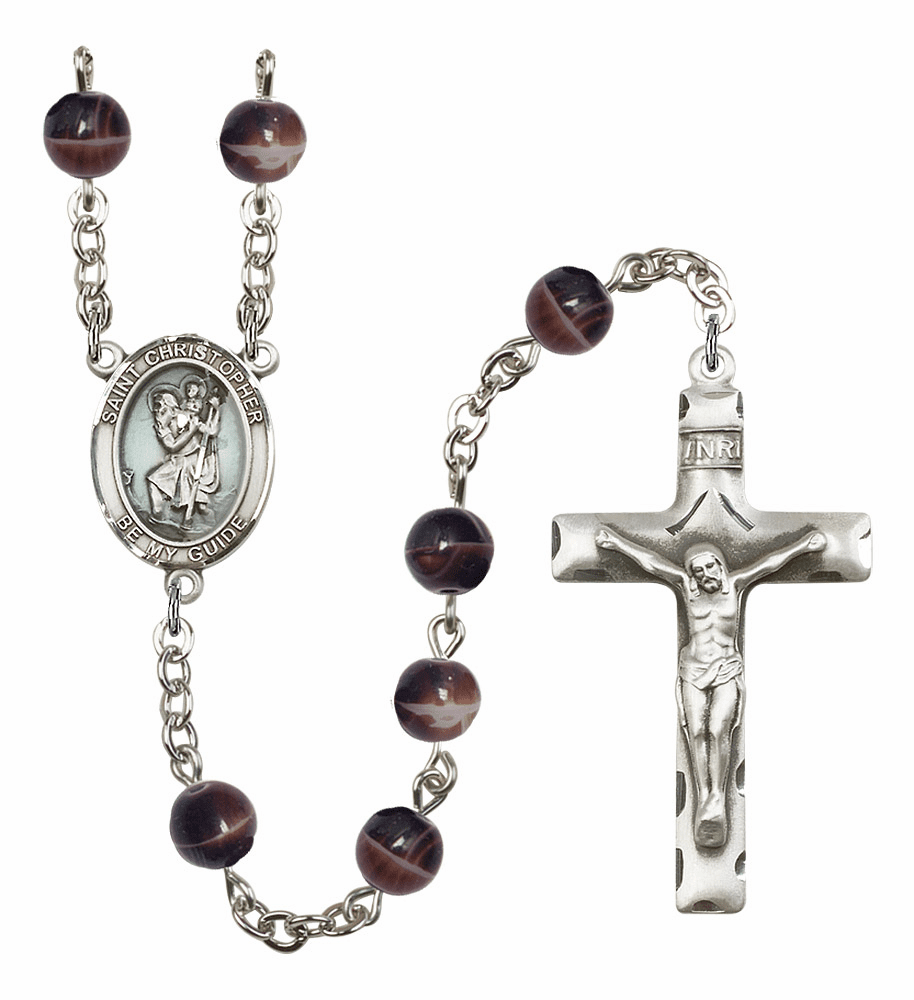 St Christopher Silver Plate 7mm Brown Gemstone Prayer Rosary by Bliss