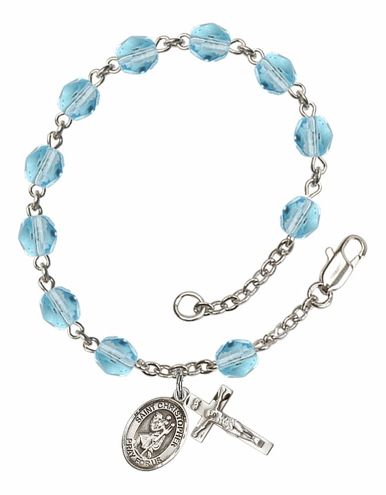St Christopher Silver Plate Aqua Birthstone Rosary Bracelet by Bliss
