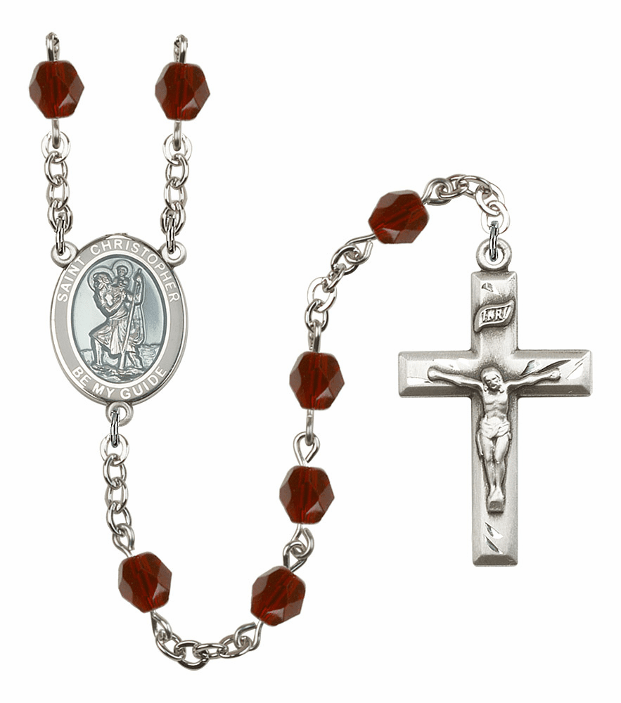 St Christopher Silver Plate Birthstone Crystal Prayer Rosary by Bliss