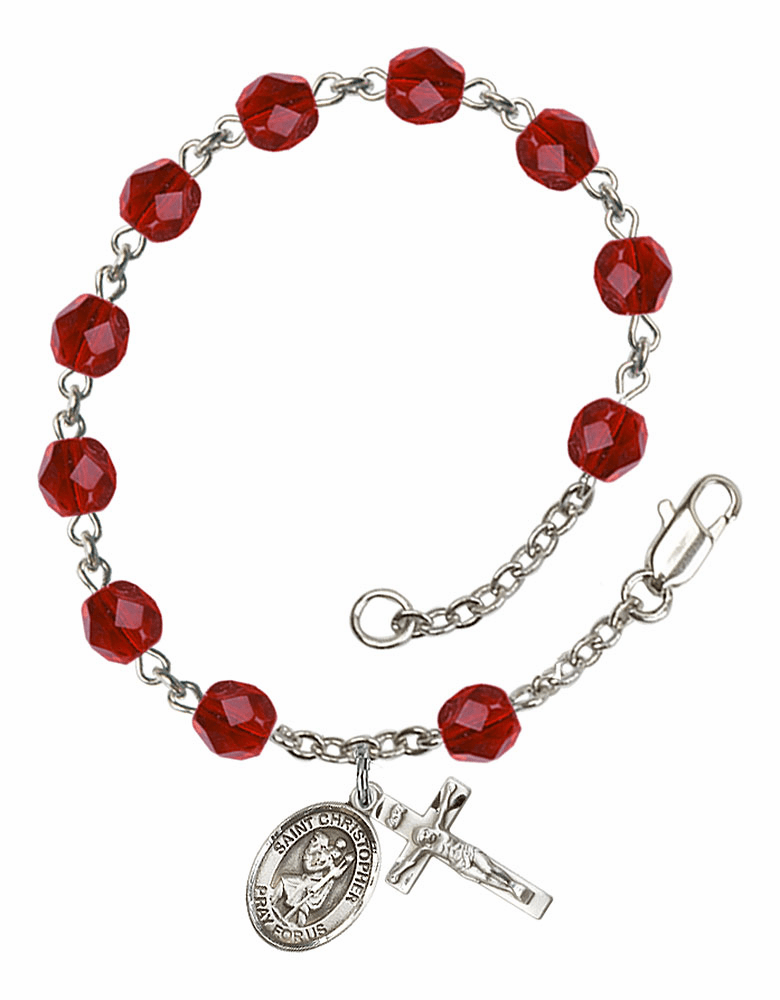 St Christopher Silver Plate July Birthstone Rosary Bracelet by Bliss