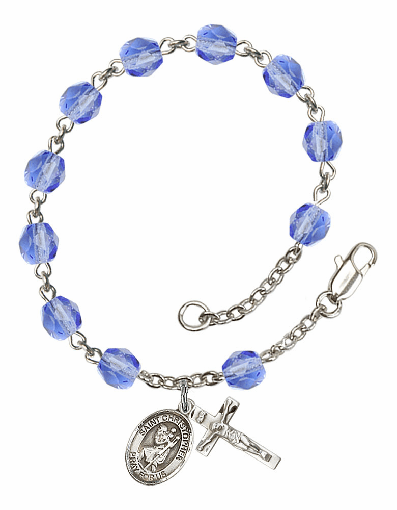 St Christopher Silver Plate Sapphire Birthstone Rosary Bracelet by Bliss