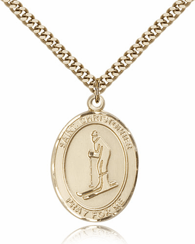 St Christopher Skiing 14kt Gold-Filled Saint Pendant by Bliss