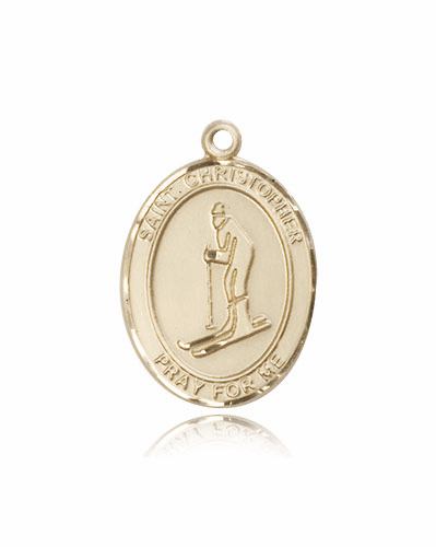 St Christopher Skiing 14kt Gold Patron Saint Pendant by Bliss