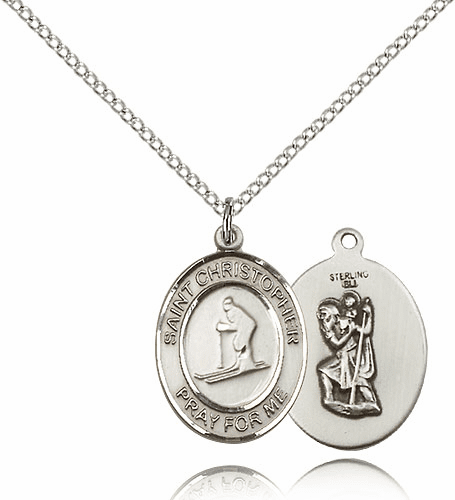 St Christopher Skiing Sterling Silver Saint Necklace by Bliss