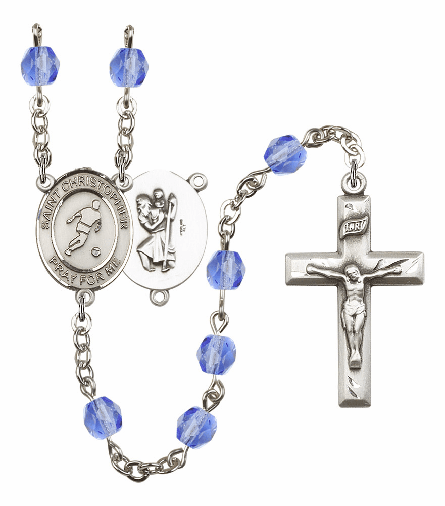 St Christopher Soccer Athlete Silver-Plated Birthstone Rosary