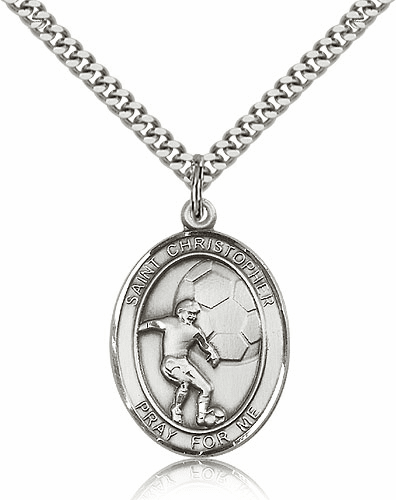 St Christopher Soccer Player Sterling-Filled Patron Saint Medal by Bliss