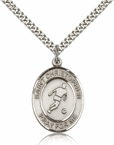 St Christopher Soccer Silver-Filled Patron Saint Medal by Bliss Manufacturing